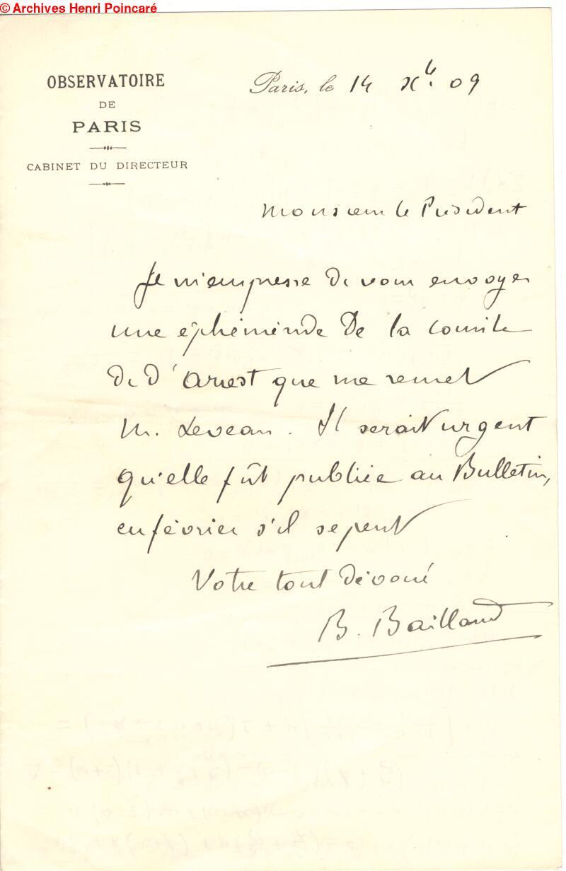 Henri Poincare Correspondence